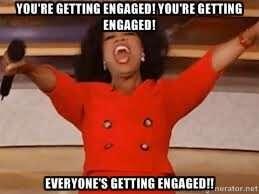 Oprah shouts engaged