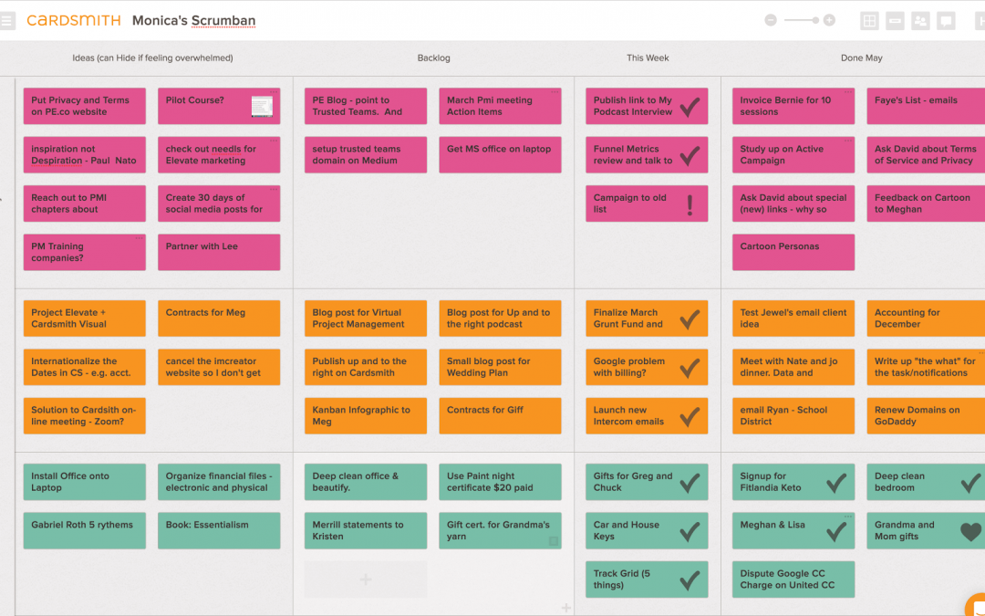 Example of Scrum and Kanban combined board