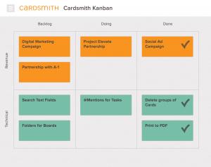 Example Kanban board