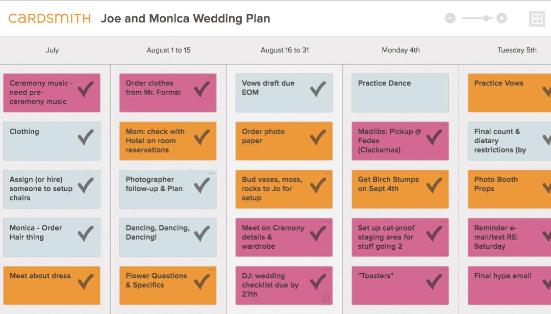 Planning my wedding in Cardsmith