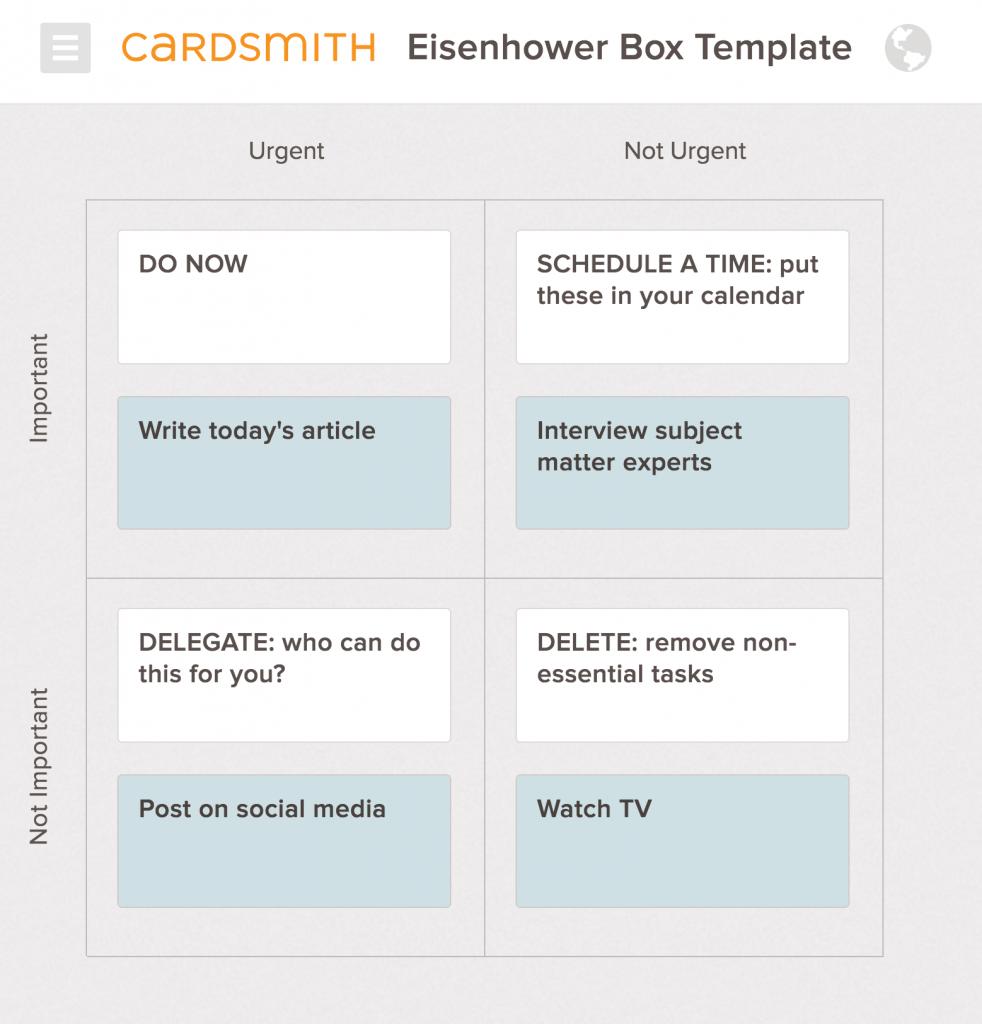 eisenhower box in cardsmith