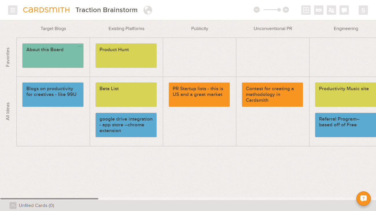 Traction Brainstorming Template Board