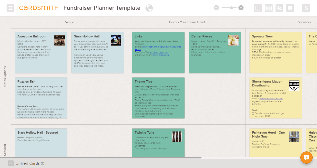 fundraising planner example