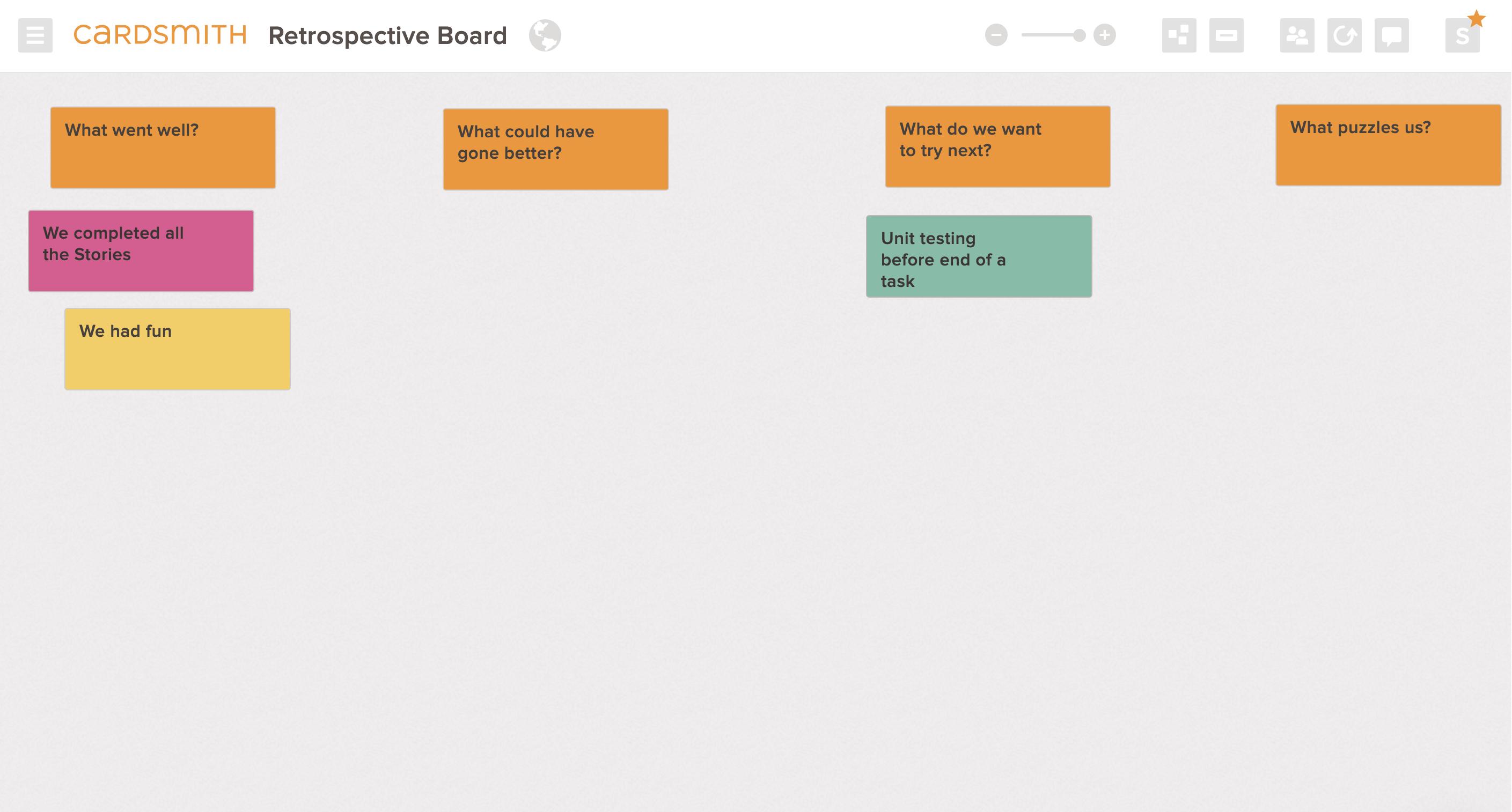 agile scrum retrospective board example